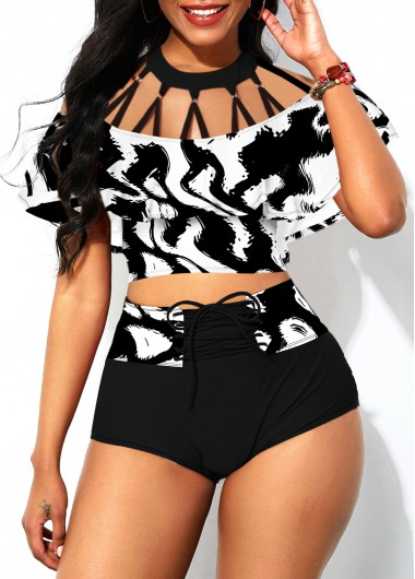 Rosewe Women Black And White Foldover Front Strappy High Waisted Bikini Swimsuit Lace Up Strappy Neck Overlay Padded Wire Free Bathing Suit - XL