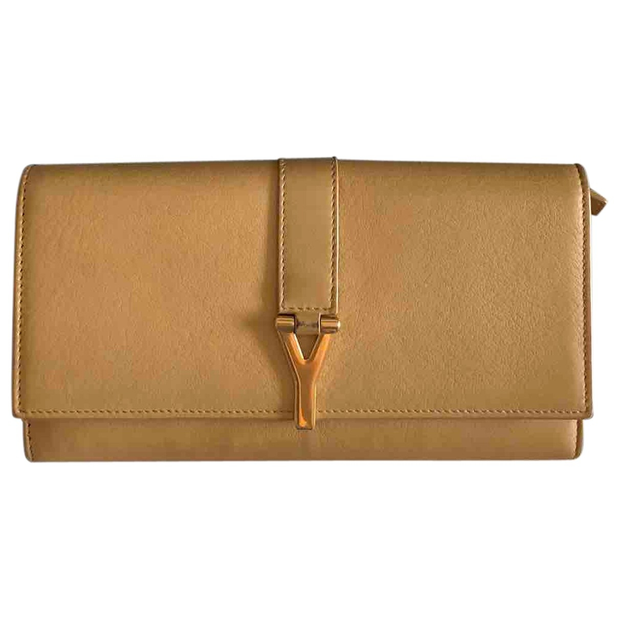 Saint Laurent Chyc Portemonnaie in  Beige Leder