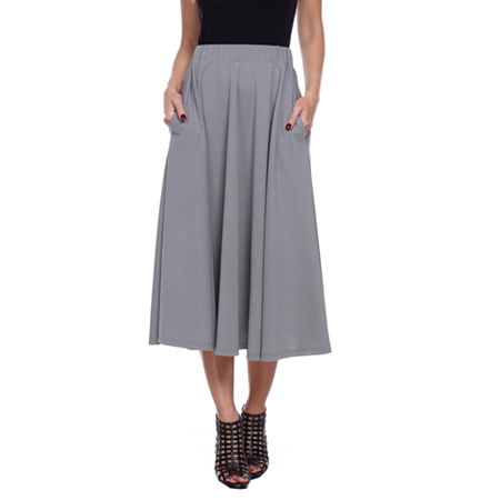 White Mark Tasmin Womens Mid Rise Stretch Midi Flared Skirt, Small , Gray