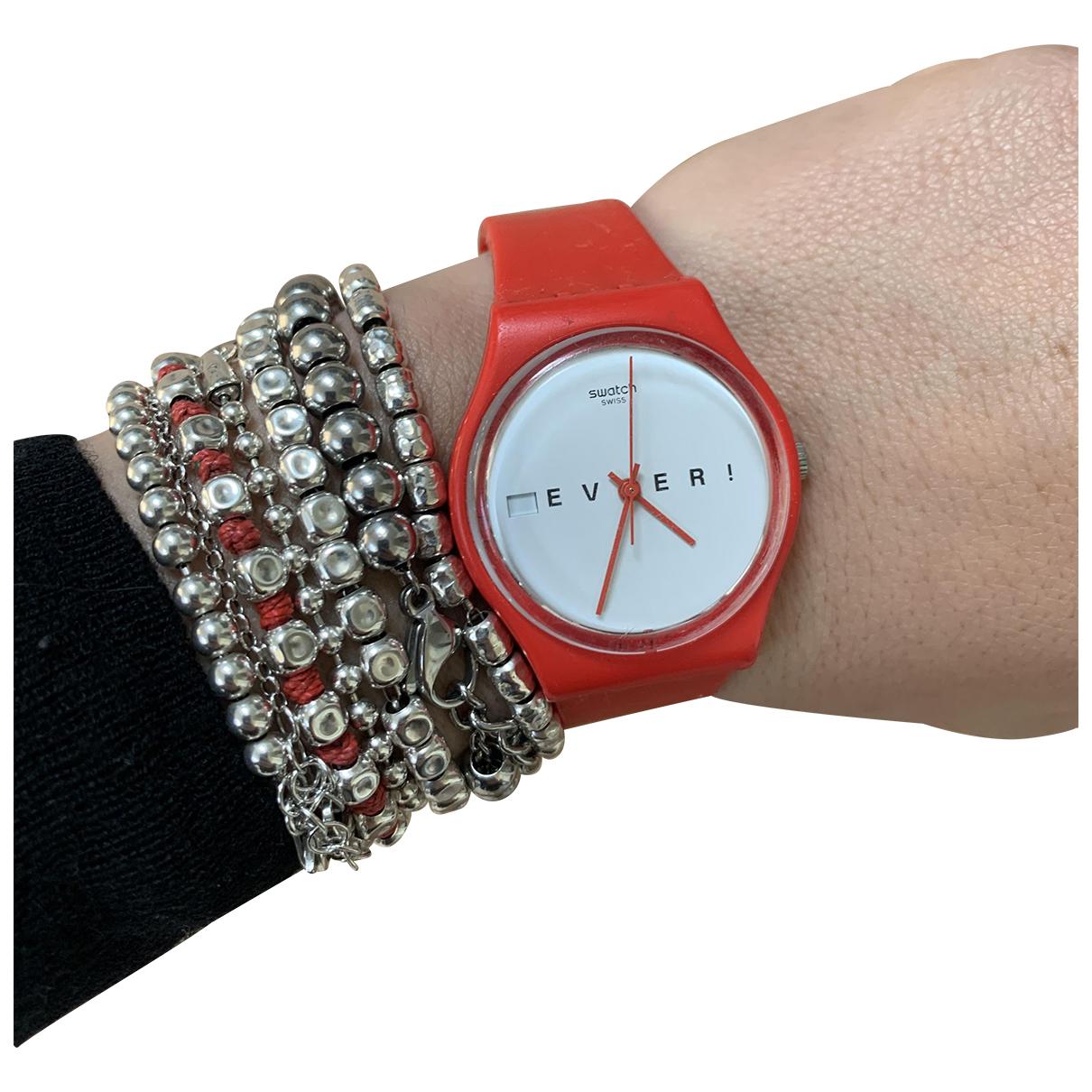 Swatch - Montre   pour femme en caoutchouc - rouge