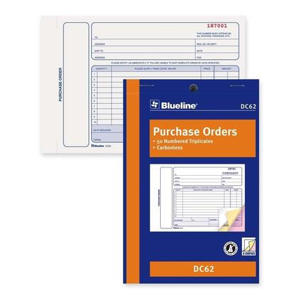 Blueline@ Purchase Orders Book Carbonless Numbered Forms - 5-3/8 x 8