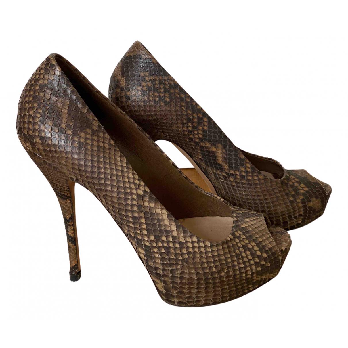 Gucci - Escarpins   pour femme en python - marron