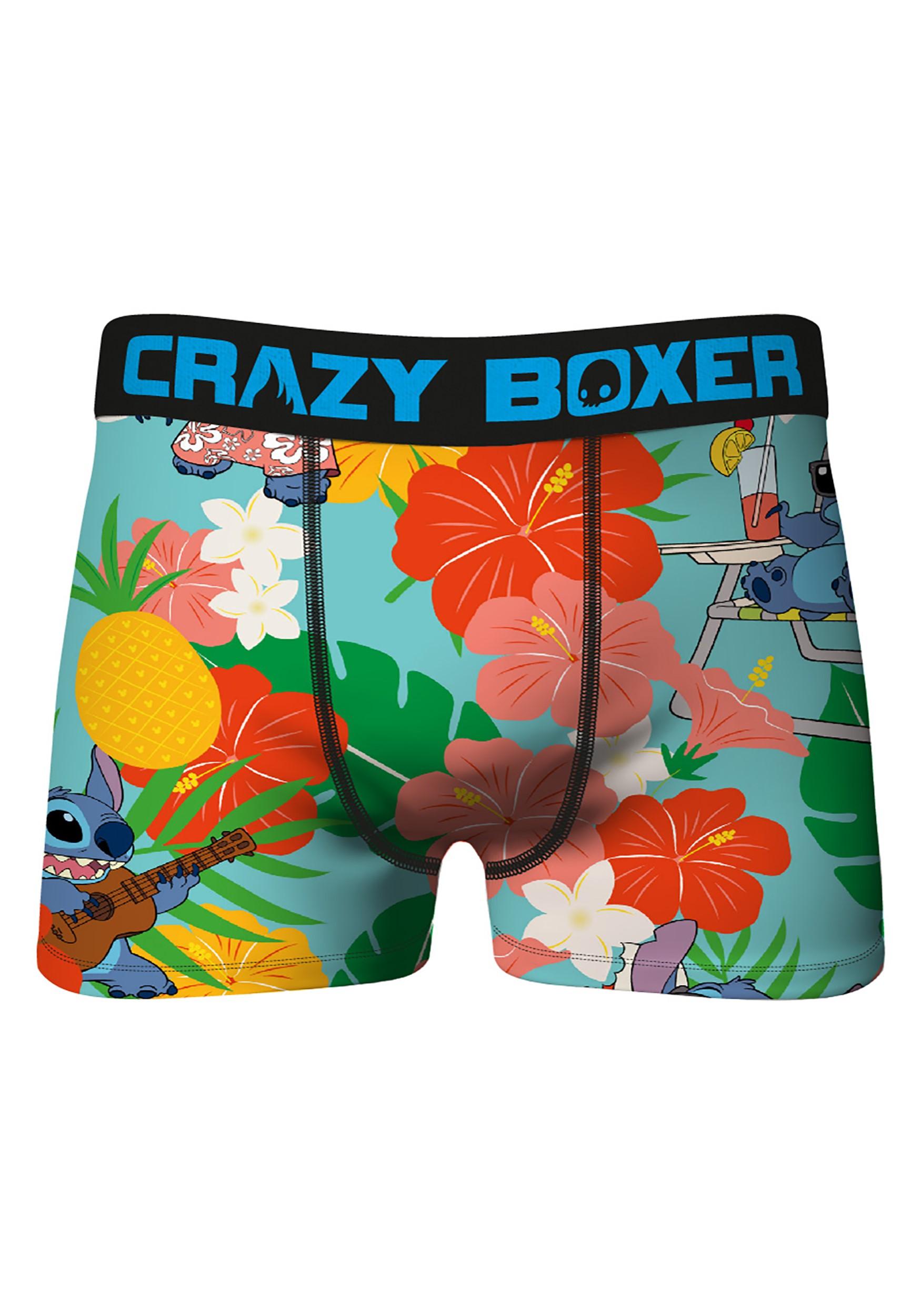 Crazy Boxers Mens Floral Stitch Print Boxer Brief