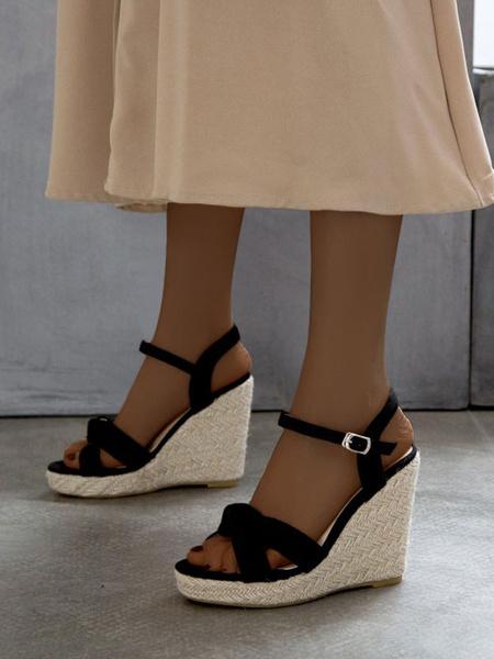Milanoo Women\'s Wedge Sandals Charming Micro Suede Upper Round Toe Sandals