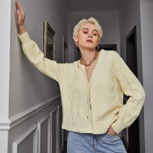 Button Front Mixed Knit Cardigan