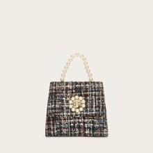 Tweed Umhaengetasche mit Kunstperlen Dekor