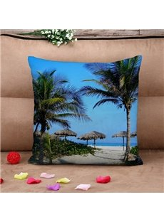 Tropical Coastal Landscape Print Throw Pillow Case