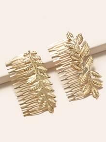 2pcs Leaf Decor Hair Pin