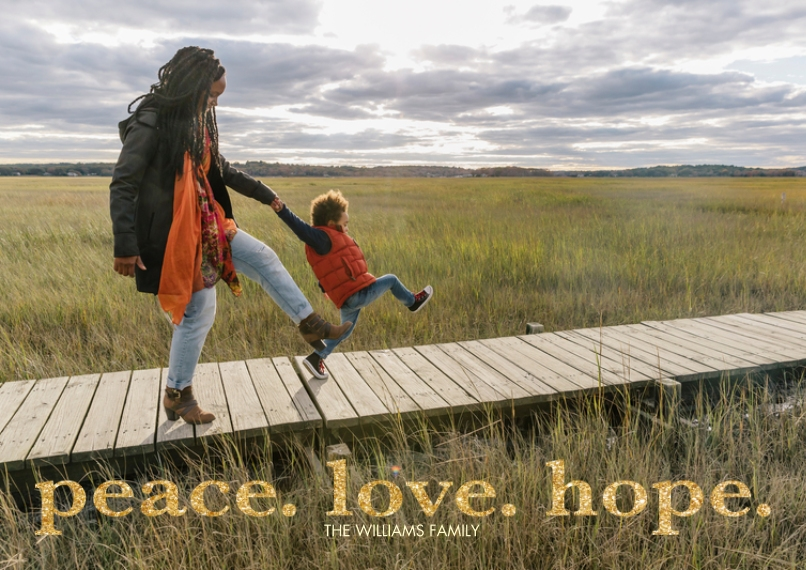Christmas Photo Cards 5x7 Cards, Standard Cardstock 85lb, Card & Stationery -Peace Love Hope