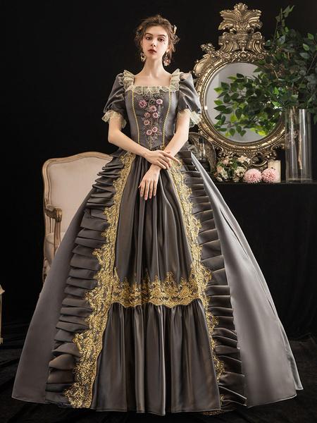 Milanoo Disfraz Halloween Disfraces retro grises Vestido de traje de Maria Antonieta floral de encaje para mujer Halloween