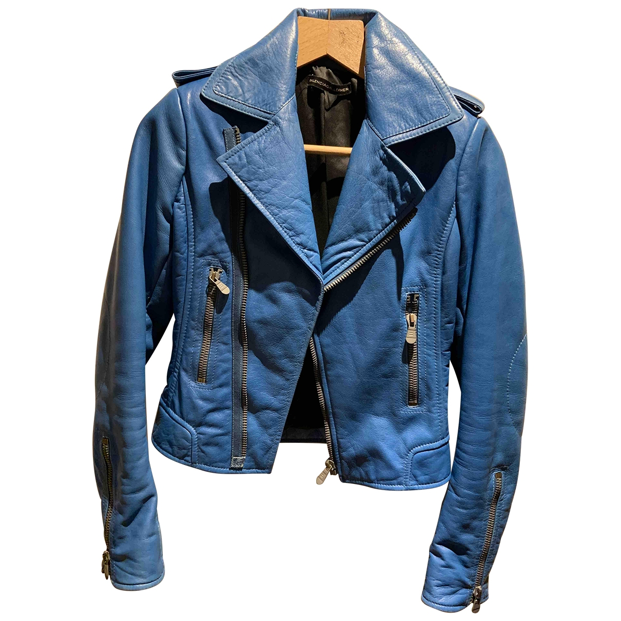 Balenciaga \N Blue Leather Leather jacket for Women 38 FR