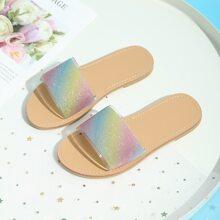 Toddler Girls Glitter Decor Colorblock Slides