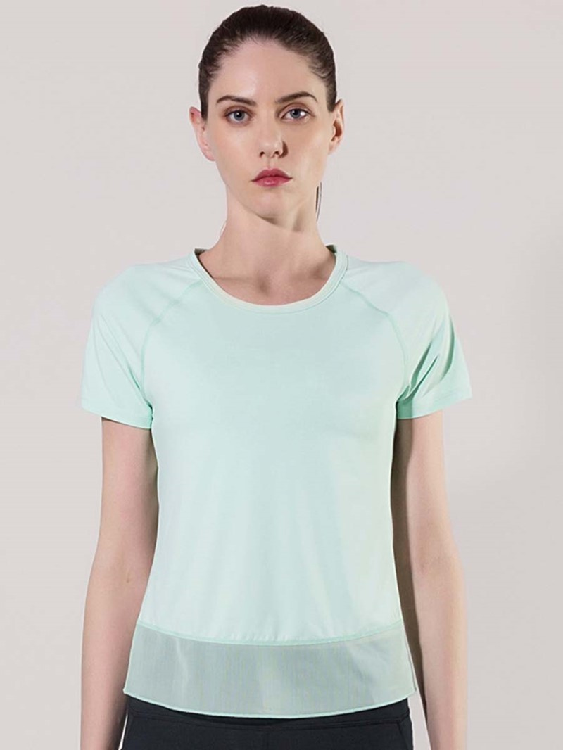 Ericdress Breathable Solid Patchwork Short Sleeve Tops