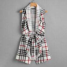 Shawl Collar Asymmetrical Hem Belted Vest Coat