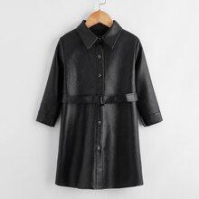 PU Leder Hemdkleid mit Knopfen vorn und Guertel