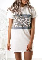 Leopard Splicing O-Neck Mini Dress - White