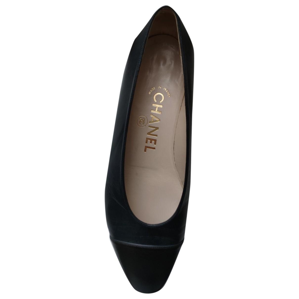 Chanel - Ballerines   pour femme en cuir - bleu
