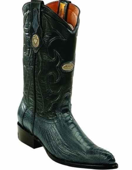 Mens Blue Jean Ostrich Leg Skin J Toe Boots Leather Insole Handmade