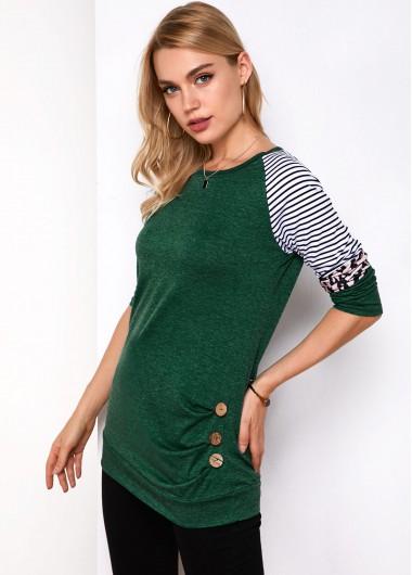 Stripe and Leopard Round Neck T Shirt - XL