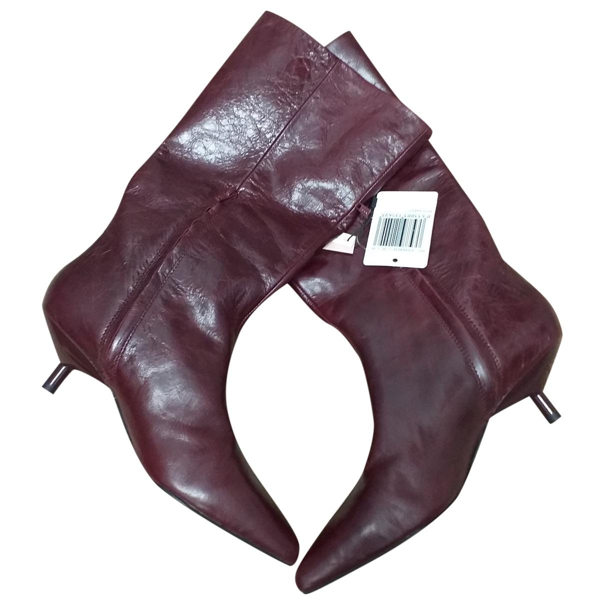 Mango \N Burgundy Leather Boots for Women 38 EU