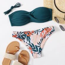 Twist Bandeau Bikini Badeanzug mit tropischem Muster und Twist