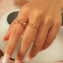 2 piezas anillo con nudo
