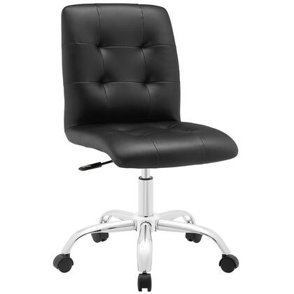 Prim Collection EEI-1533-BLK Mid Back Office Chair with Adjustable Height  Swivel Seat  Five Dual-Wheel Nylon Casters  Chrome Steel Base and Faux