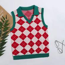 Argyle Pattern Sweater Vest Without Blouse