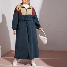 Plus Zip Up Colorblock Drawstring Waist Hooded Coat