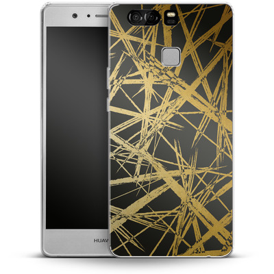 Huawei P9 Silikon Handyhuelle - Strokes Gold Black von Khristian Howell