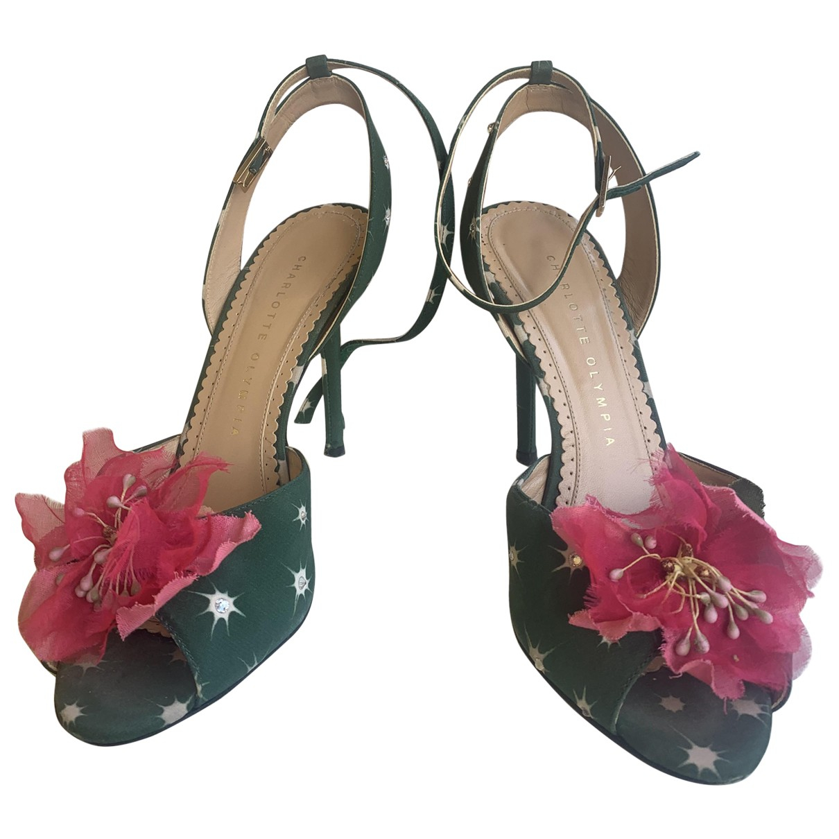 Charlotte Olympia N Green Cloth Heels for Women 37.5 EU