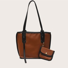 Contrast Piping Tote Bag With Purse