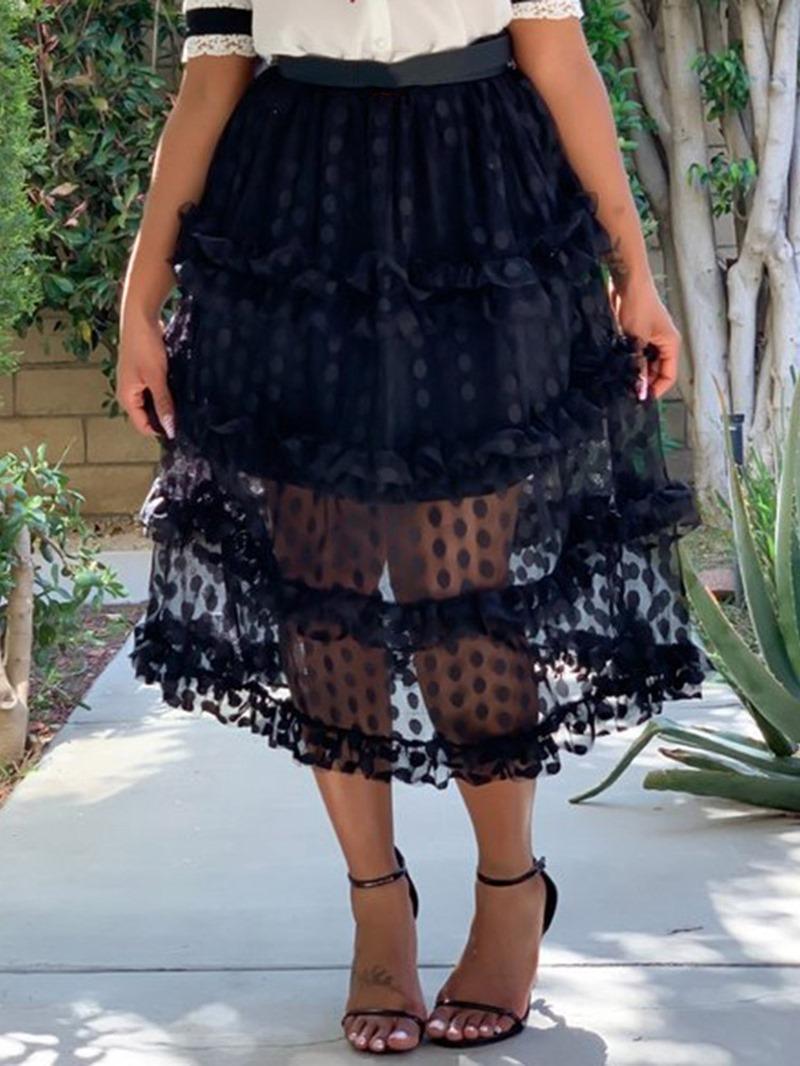 Ericdress Cupcake Polka Dots Plain Mesh Skirt