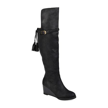 Journee Collection Womens Jezebel Over the Knee Boots Wedge Heel, 5 1/2 Medium, Black