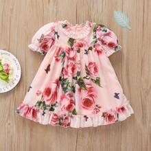 Kleinkind Maedchen Kleid mit Blumen Muster und Rueschen