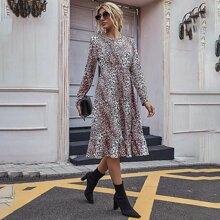 Ruffle Hem Leopard Dress