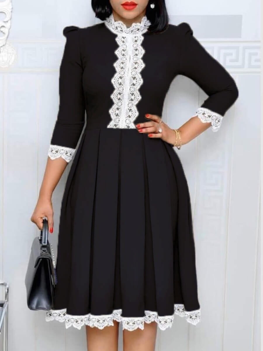 LW Lovely Sweet Lace Patchwork Black Knee Length Dress