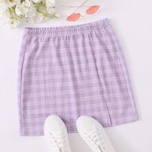 Split Hem Plaid Skirt