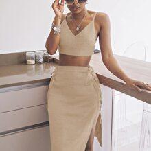 Solid Cami Sweater Top & Lace Up Side Split Hem Skirt Set