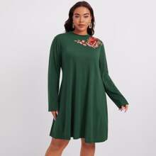 Plus Floral Embroidered Dress