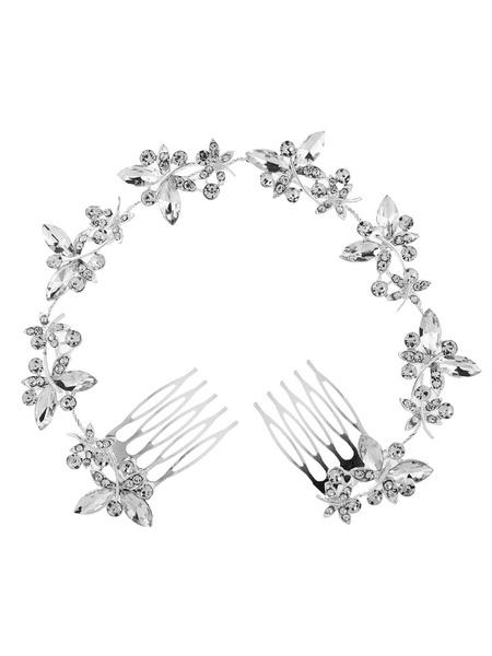 Milanoo Tocados de novia de plata Diamantes de imitacion de peine Accesorios de pelo nupcial con cuentas