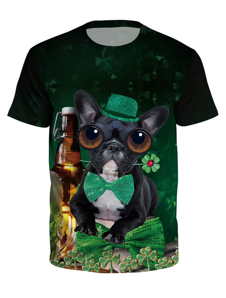 Milanoo St Patricks Day T Shirt Green 3D Printed Dog Clover Unisex Irish Short Sleeve Top Halloween