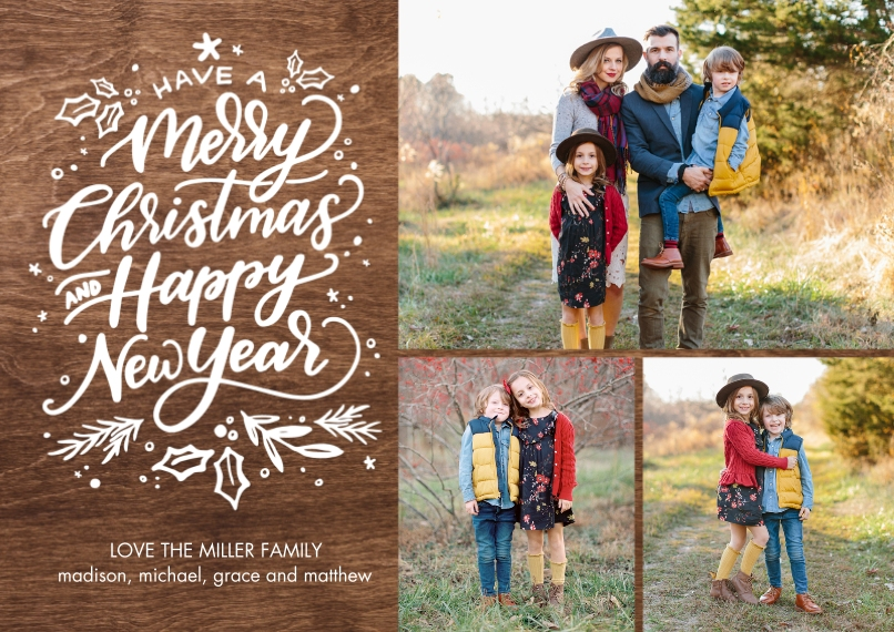 Christmas Photo Cards 5x7 Cards, Standard Cardstock 85lb, Card & Stationery -Christmas Happy New Year by Tumbalina