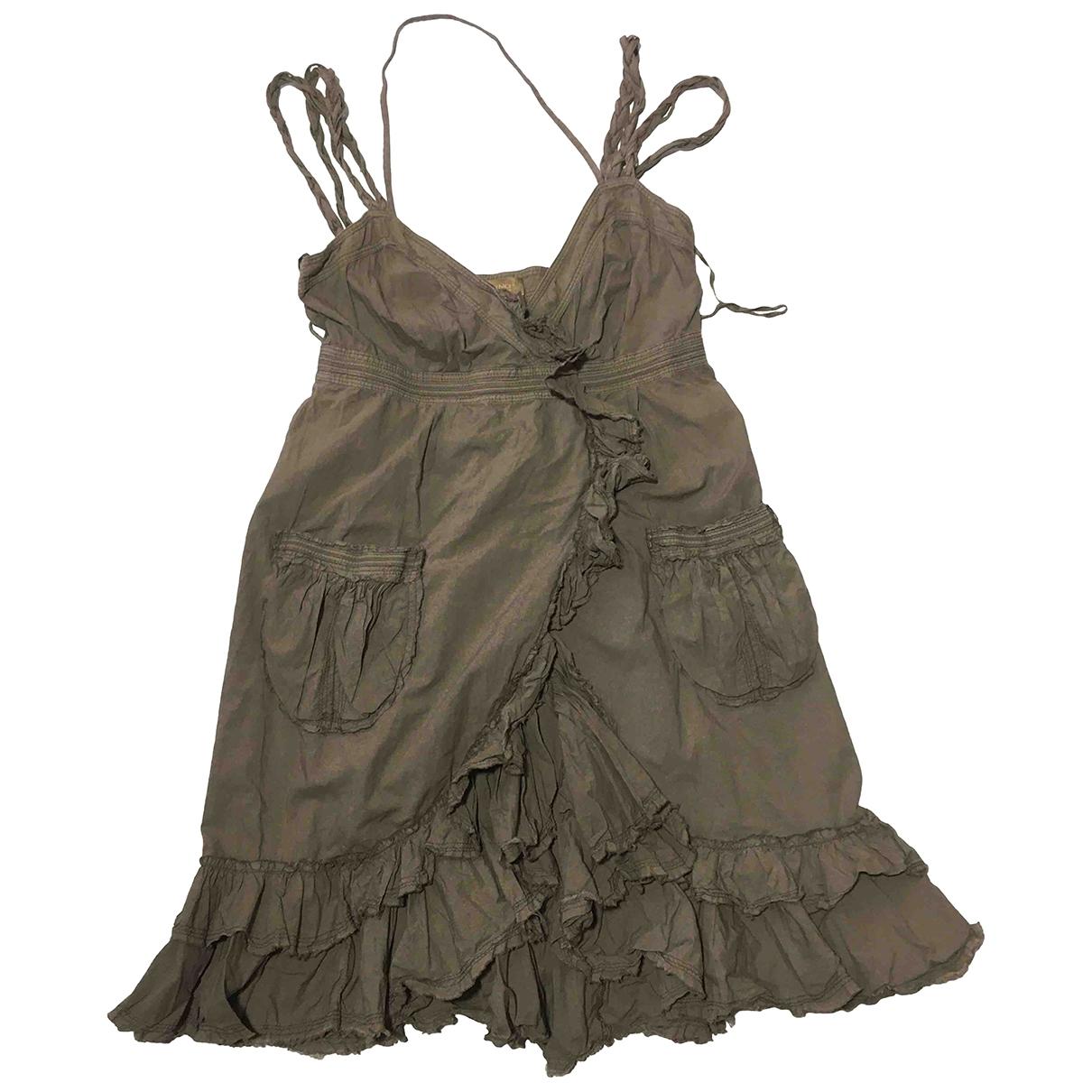 Ermanno Scervino \N Khaki Cotton dress for Women 40 IT