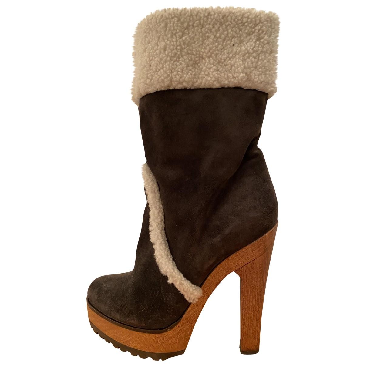 Dolce & Gabbana \N Anthracite Fur Boots for Women 40 EU