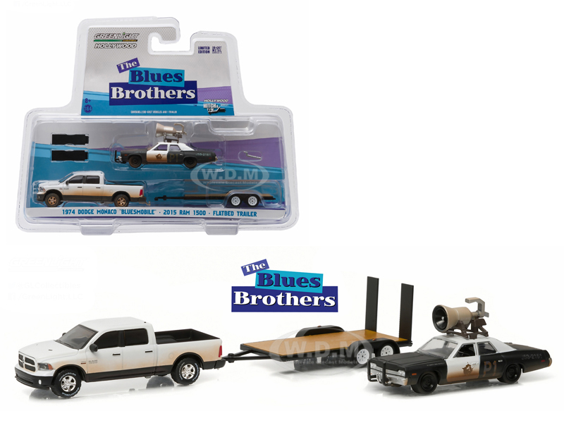2015 RAM 1500 Pickup Truck and 1974 Dodge Monaco Bluesmobile on Flatbed Trailer Blues Brothers Movie (1980) 1/64 Diecast Model Cars by Greenlight