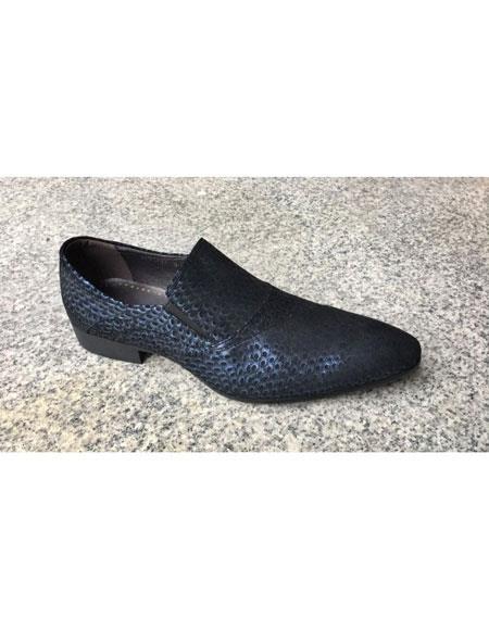 Men's Blue Leopard Genuine Suede Leather Slip-On Loafer Shoes