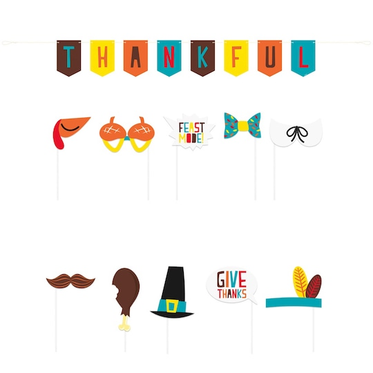 Thanksgiving Photo Booth Props And Banner Set By Unique | Michaels®