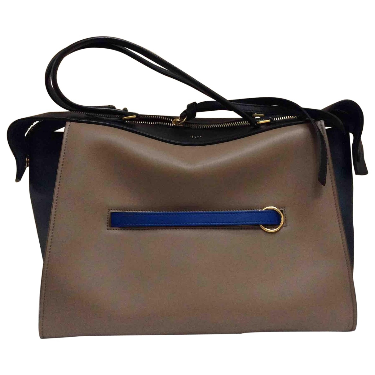 Celine Ring Handtasche in  Beige Leder
