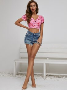 Shirred Back Ruched Knot Bustier Top